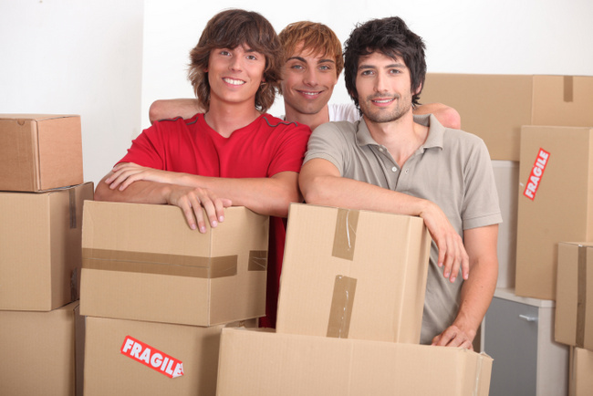 Young men on moving day